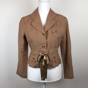 Anthropologie Elevenses Linen Tie Waist Jacket